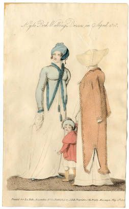 La Belle Assemblee, May 1808. Hyde Park Walking Dresses in April 1808, not shocking just nice plate with a kid