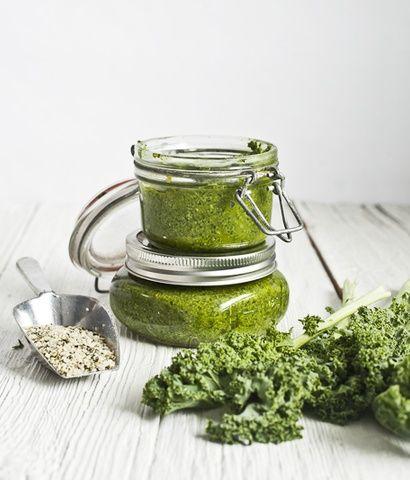 Recette de pesto de Kale, basilic & chanvre- Kale, basil and hemp pesto recipe