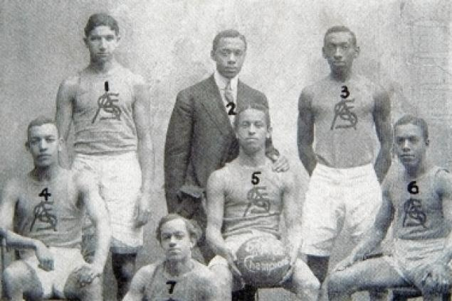 The Smart Set Athletic Club of Brooklyn. Believed to be the 1st independent African-American Basketball Players. Photo courtesy of the The Black Fives & Claude Johnson.  http://www.BlackFives.com