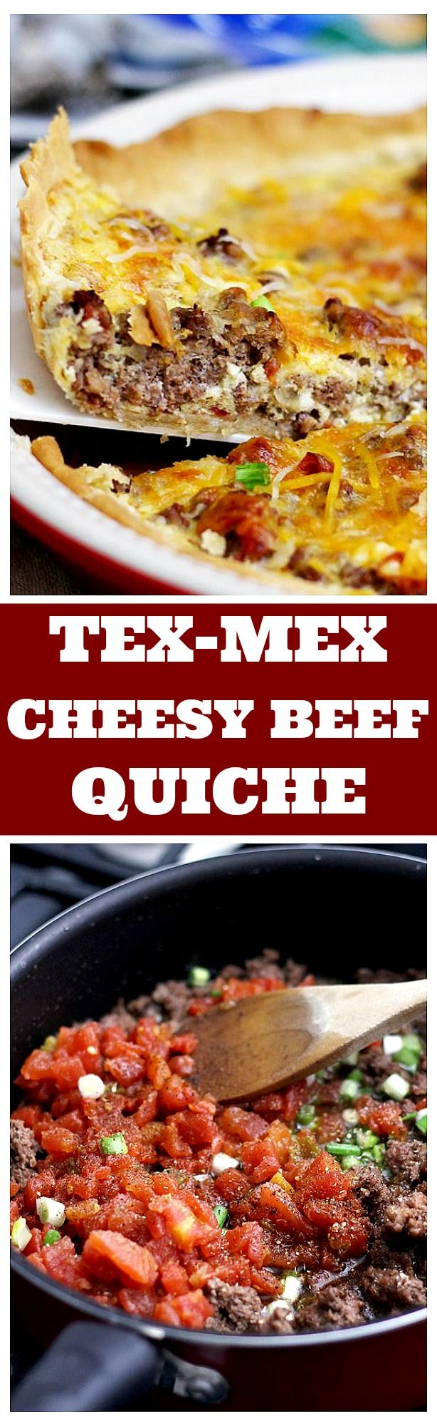 This Tex-Mex Cheesy Beef Quiche is a great weeknight meal, filled with the delicious flavors of the Southwest and topped with handfuls of Taco Shredded Cheese.
