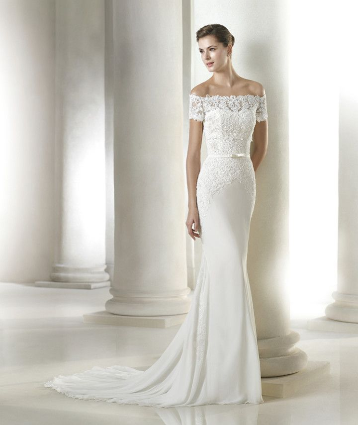 Off the shoulder wedding dresses are so subtly sexy. San Patrick 2015 Bridal Collection