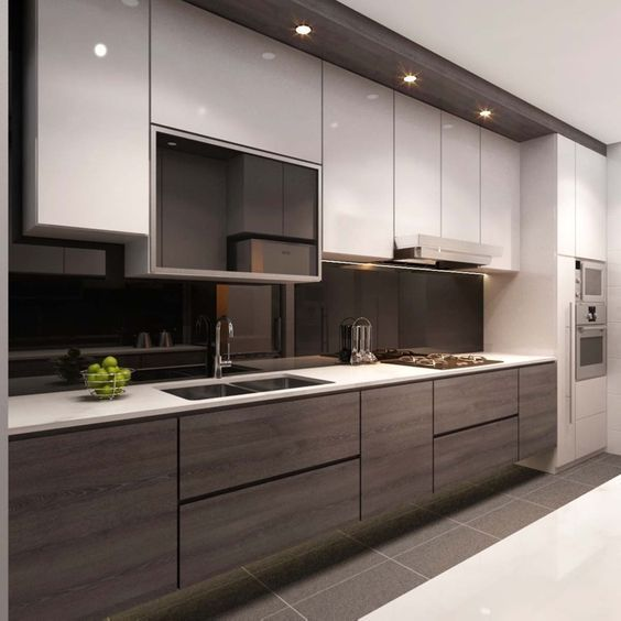 Modern interior design room ideas. Beautiful modern kitchen design with built in TV. More interiors here http://www.homemagez.com