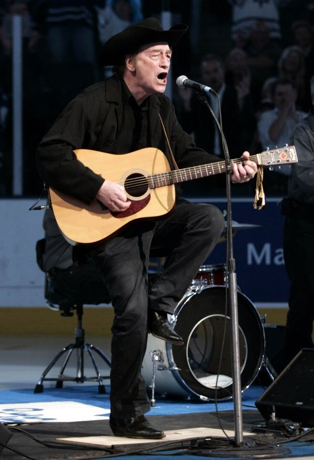 Stompin' Tom Connors (b. February 9, 1936 in Saint John NB – March 6, 2013 ) was a singing, songwriting gem whose hits include Sudbury Saturday Night, Bud the Spud and The Hockey Song.
