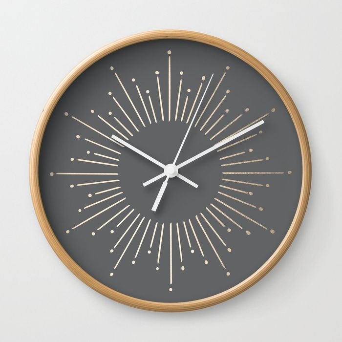 Buy Simply Sunburst In White Gold Sands On Storm Gray Wall Clock By Followmeinstead Worldwide Shipping Available At Society6 Grey Wall Clocks Wall Clock Clock