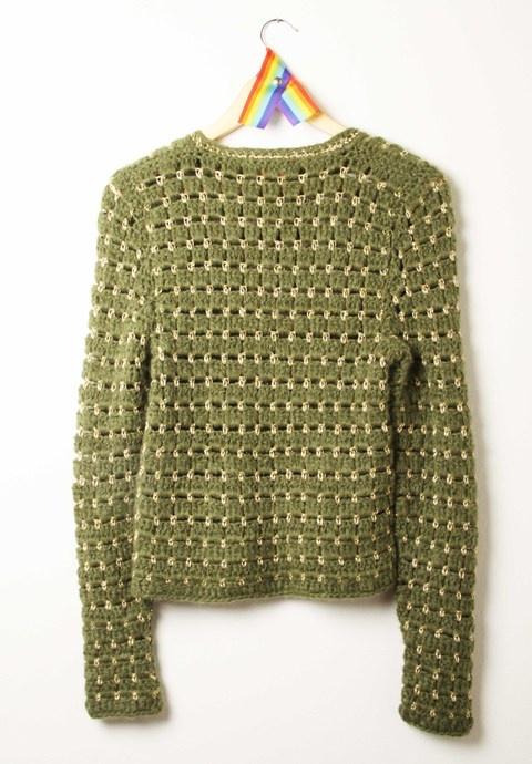 sweater waffle verde militar y dorado — de las bolivianas