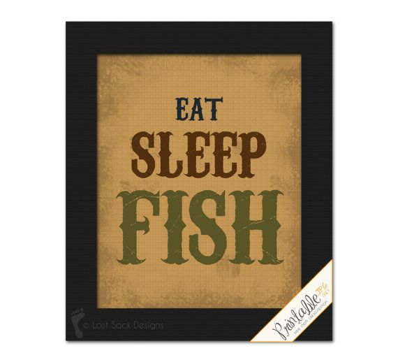 Fishing theme Home Decor Wall Art EAT SLEEP by LostSockDesigns