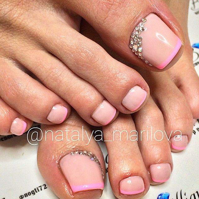 French Rose Pink Rhinestone Toe NailArt