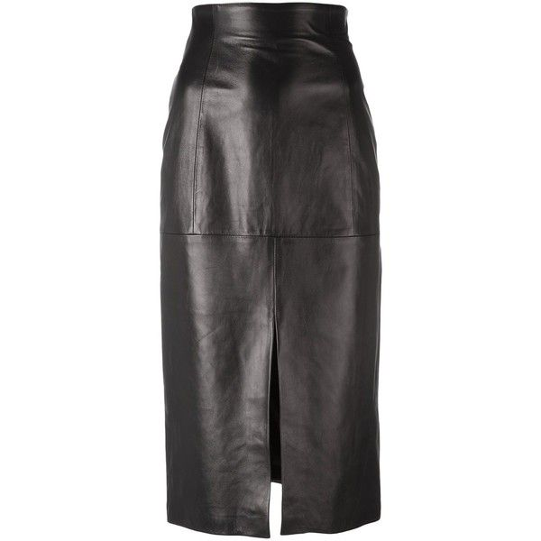Plein Sud long slit detail skirt (59.000 RUB) ❤ liked on Polyvore featuring skirts, black, long slit skirt, long leather skirt, real leather skirt, leather skirt and long maxi skirts