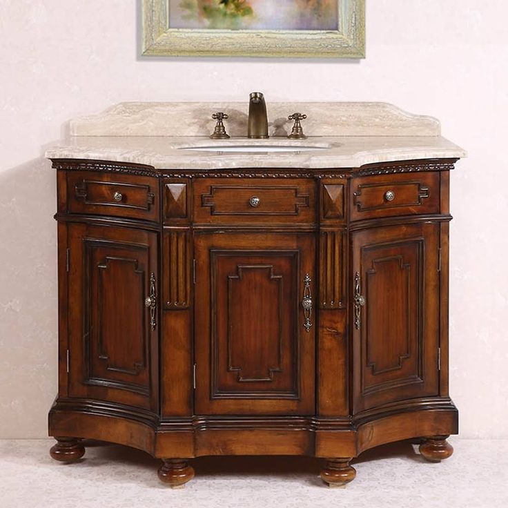The Awesome Web Antique Legion inch Medium Brown Single Sink Bathroom Vanity Travertine Stone Countertop with Premium