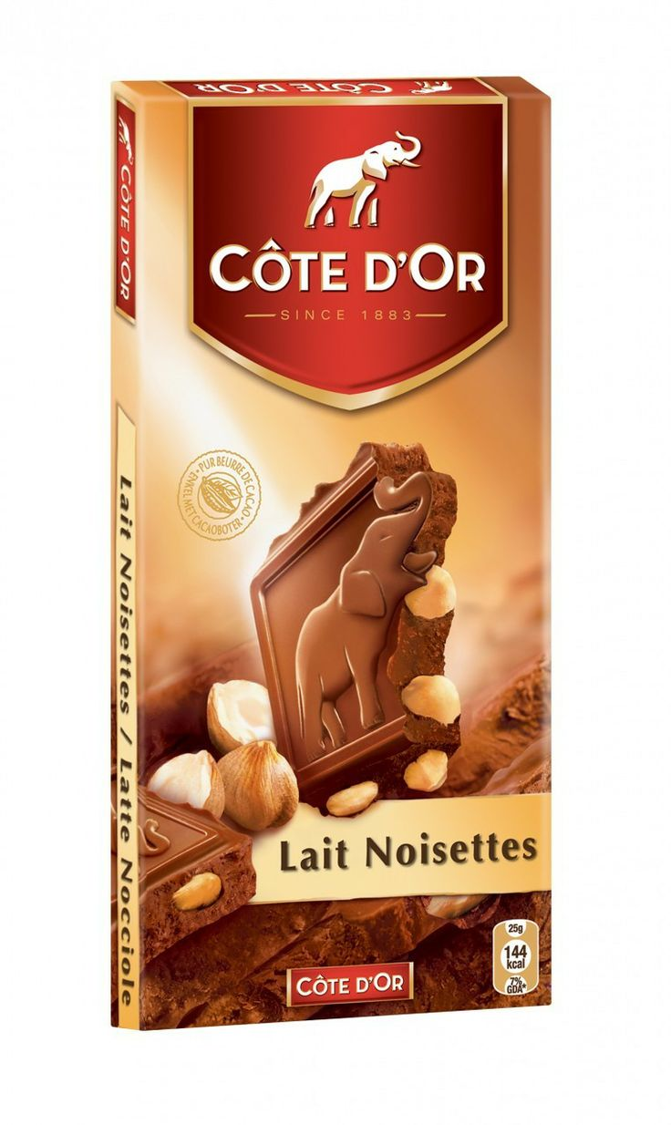 Côte d'Or Milk Chocolate with Hazelnuts | Elephant logo, Chocolate ...