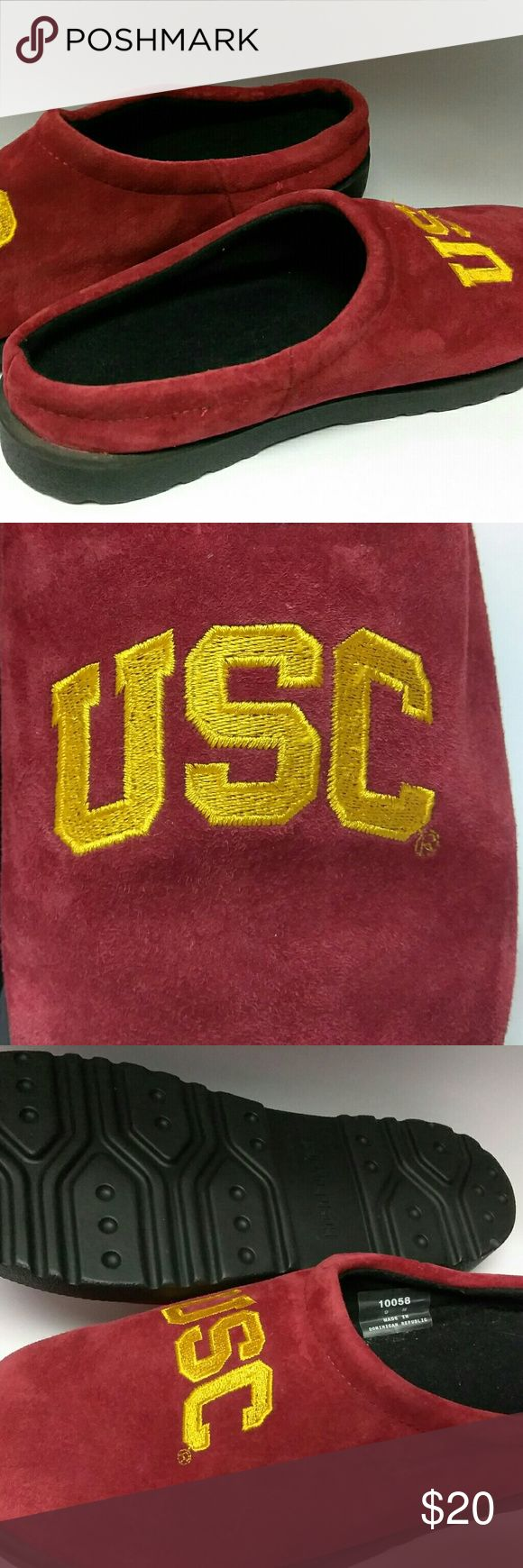 Unisex USC trojans slippers Cardinal red and gold slippers.  Never been used.  Size 8M and 9M Hush Puppies Shoes Slippers