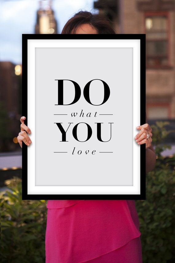 "Inspirational Print ""Do What You Love"" Motivational Quote Typographic Art Print Home Decor Poster"