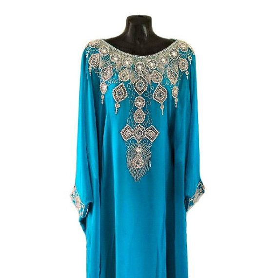 Queen Cleopatra Turquoise Caftan Embellished Kaftan Dress by Jywal