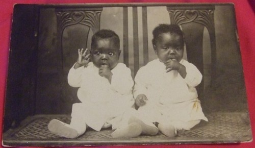 Cute African American Twin Babies Photograph Double