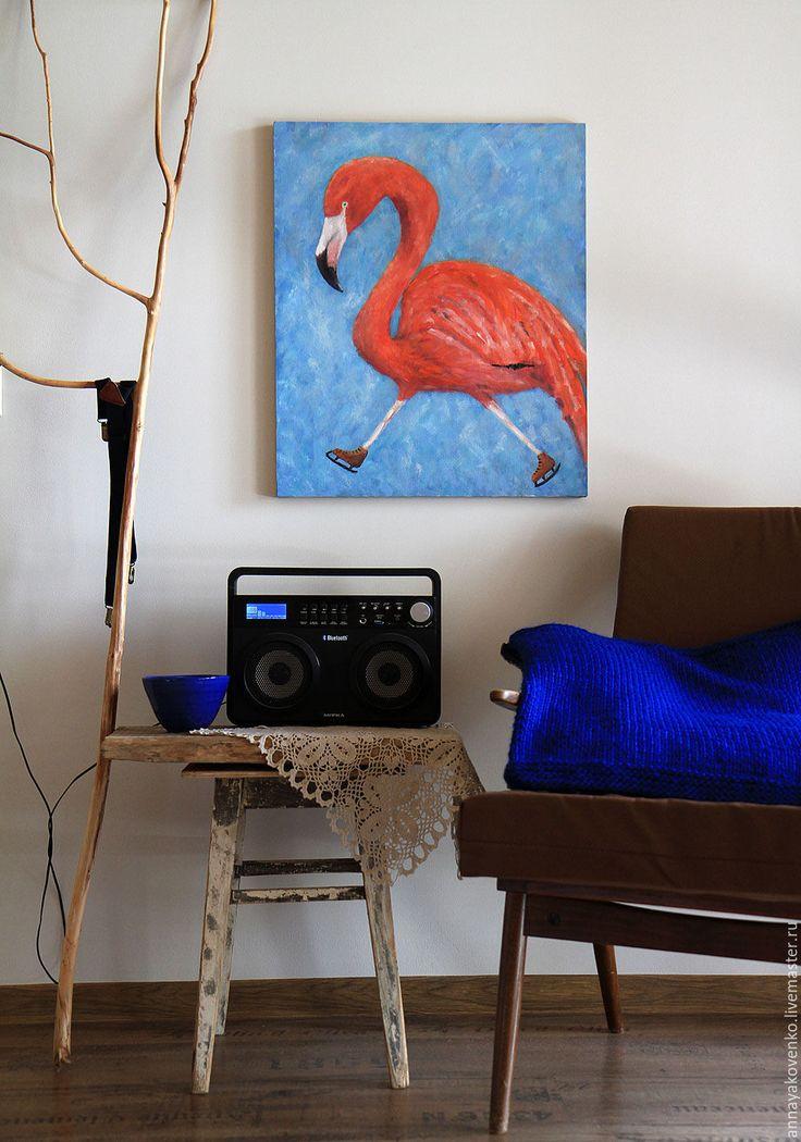 """Купить Картина """"Фламинго и Коньки"""". Авторская работа, холст, масло, 50/60. - коралловый, коралловый и голубой"""