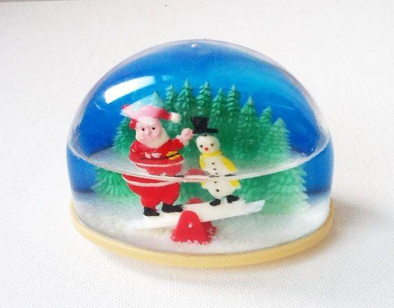 Vintage Collectable Plastic Snow Globe Santa by PrettyHappyVintage: