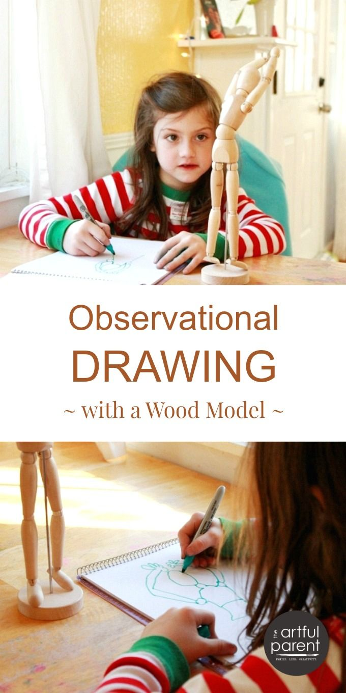Observational Drawing with Kids Using a Wood Mannequin