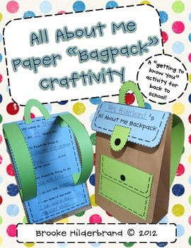 All About Me Paper Bagpack A Back to School Craft