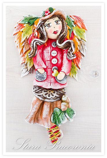aniołek z masy solnej w wersji jesiennej, salt dough angels, aniołki z masy solnej, masa solna, salt dough, salt dough angel, figurki ozdoby z masy solnej www.masa-solna.pl www.starapracownia.blogspot.com