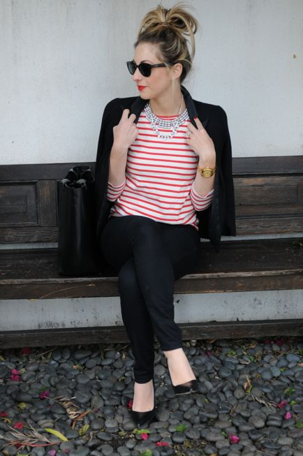classic and bold. red striped shirt. black blazer. black skinnies. messy bun. red lips.