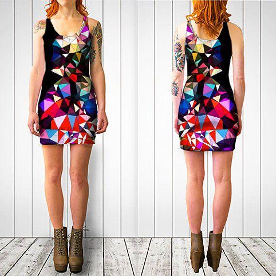 Bodycon Dress, Geometric Print Dress, Wearable Art, Body Conscious Dress, Black and Red Dress, Graph