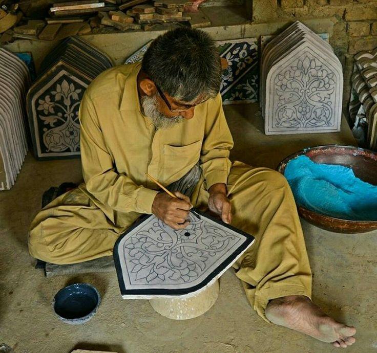 A man doing art work(Kashi Kari) in Hala Sindh Pakistan