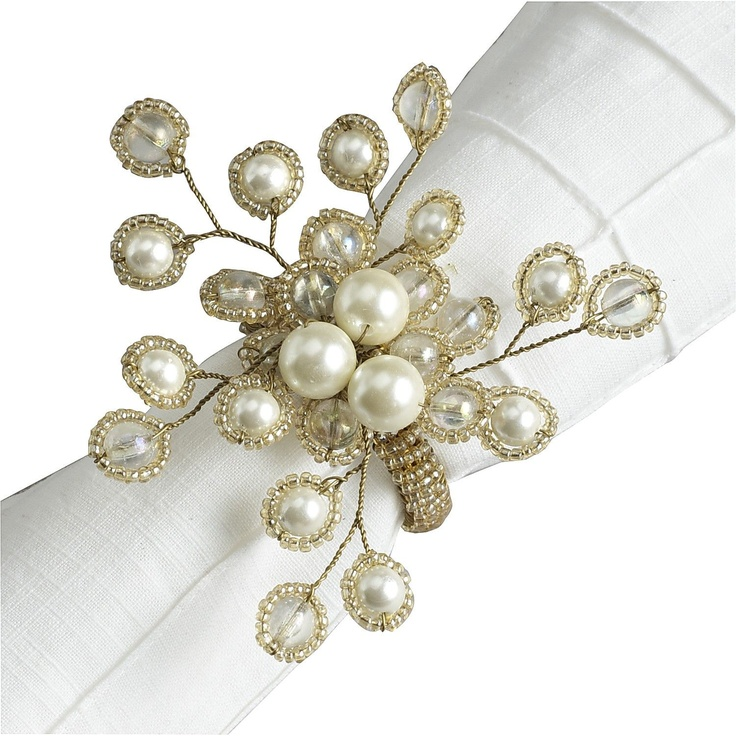 Assure your table is well dressed for dinner with Pier 1 Iridescent Spray Pearl Napkin Rings