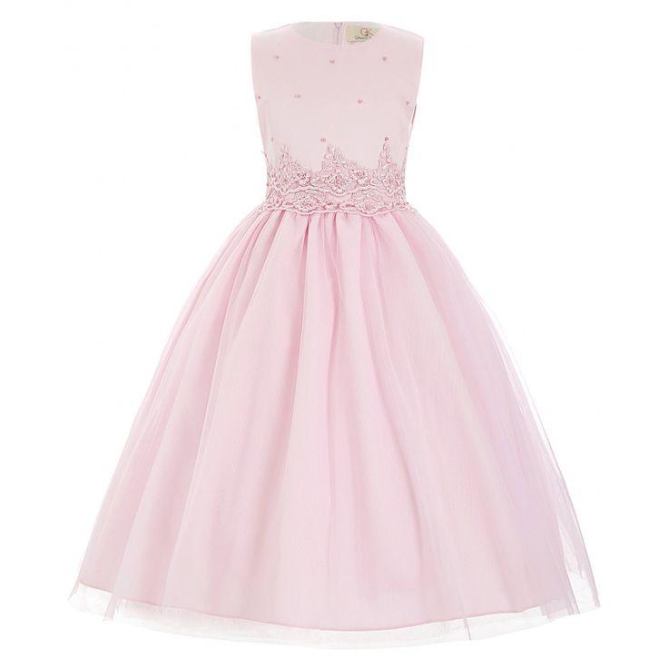 Ružové detské spoločenské šaty s perličkami