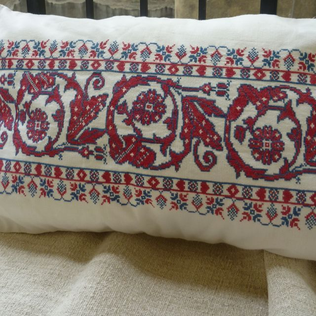 Cushion cover from antique Transylvanian embroidery Faded red and blue fine counted cross stitch on fine linen