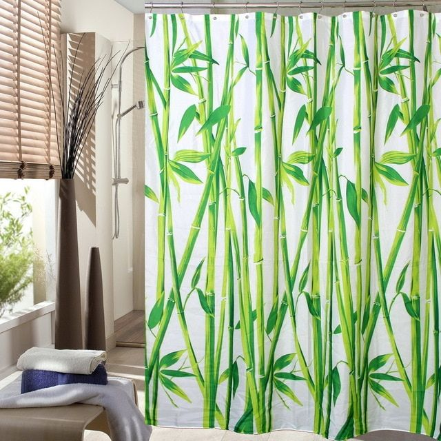 Happy Tree Fabric Polyester Green Bamboo Shower Curtain Waterproof