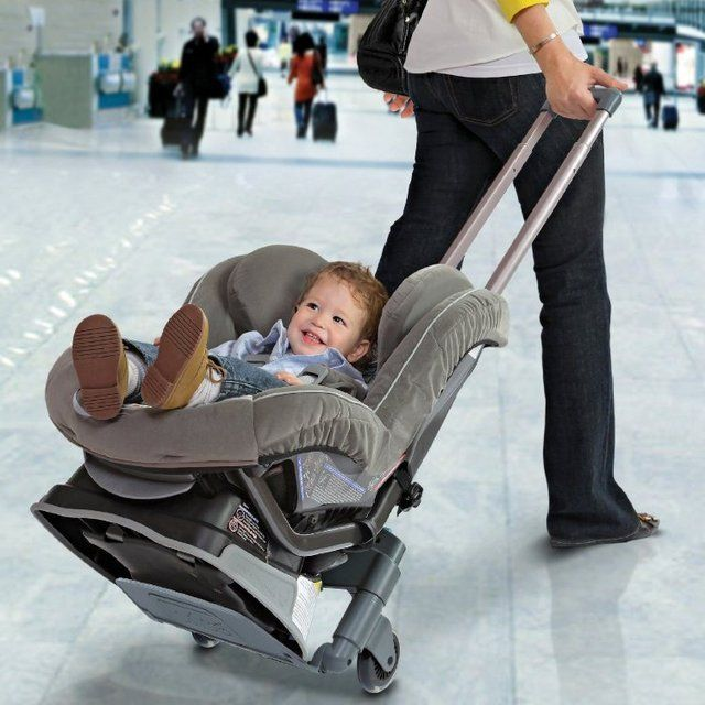 Brica's Roll 'n Go Car Seat Transporter converts your car seats into an airport stroller within minutes and gives your child a luxury ride at the airport.