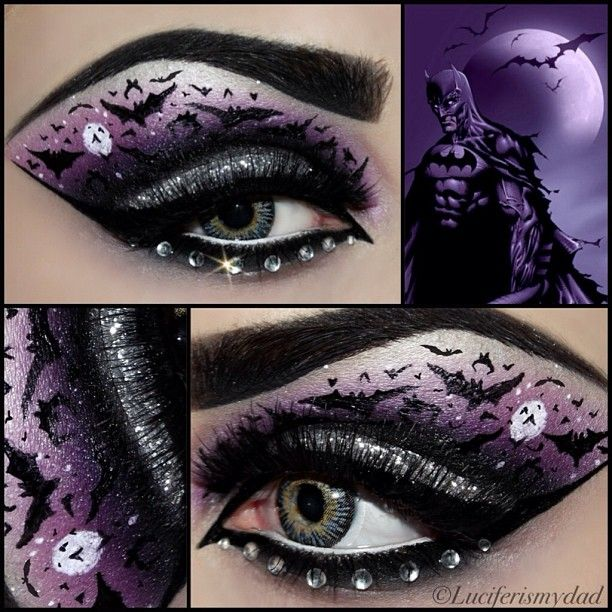Awesome creative 'eye art' with crystal accents inspired by Batman by MUA Kirsty Childs/KiKi Makeup.