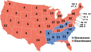 1952 Presidential election results map. Red denotes states won by Eisenhower/Nixon, Blue denotes those won by Stevenson/Sparkman. Numbers indicate the number of electoral votes allotted to each state.