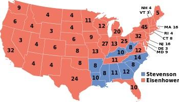 1952, Dwight D. Eisenhower (R) - 442 EV / 34,075,529 (55.2%) PV, Adlai Stevenson (D) - 89 EV / 27,375,090 (44.3%) PV