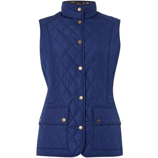 Barbour Saddleworth quilted gilet ($99) ❤ liked on Polyvore featuring outerwear, vests, blue, women, quilted zip vest, gilet vest, zipper vest, blue quilted vest and barbour vest