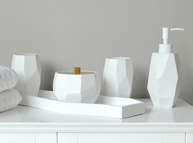 unique geometric shapes make up these bathroom accessories material poly resindimensions x x