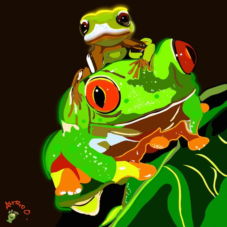 Grazy Frog Digital drawing by Assie's Art.