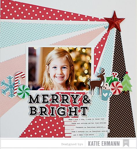 Merry and Bright - Christmas scrapbook layout inspiration created using our Peppermint Express Collection #christmascraft #DIY #Americancrafts