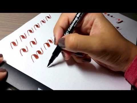 Basic brush calligraphy strokes: The compound curve - YouTube
