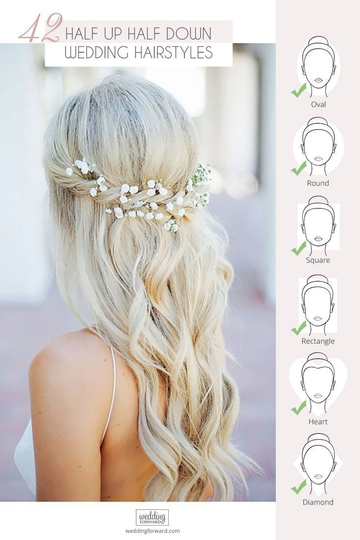 42 Stunning Half Up Half Down Wedding Hairstyles ❤️ These elegant curly half…
