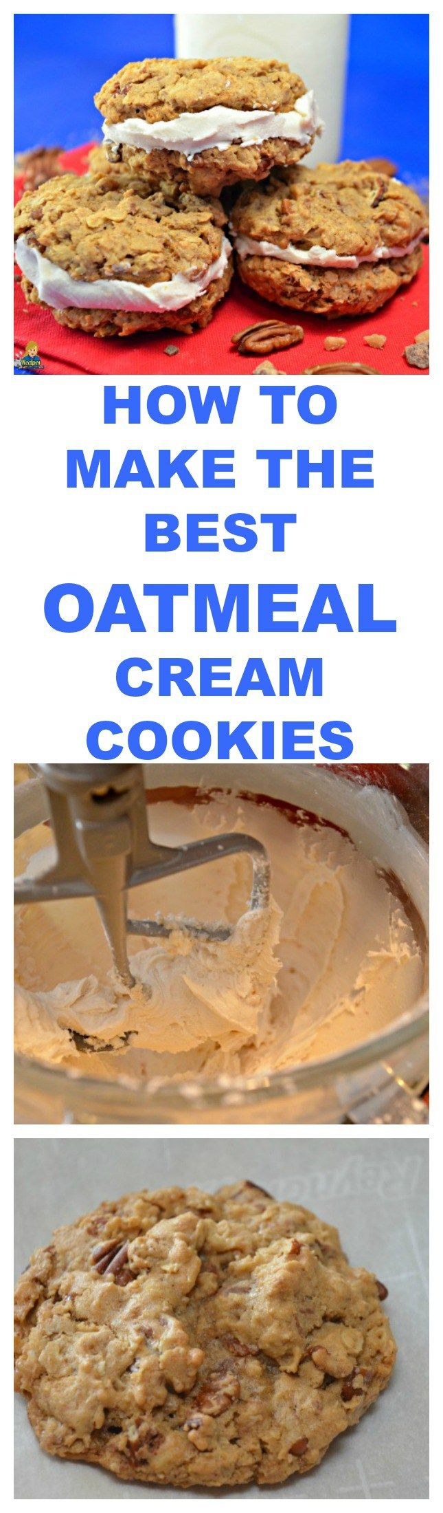 HOW TO MAKE THE BEST OATMEAL CREAM COOKIES - These oatmeal cookies are crunchy on the outside, chewy on the inside and filled with a delicious cream filling.   PRINT THESE RECIPES: http://recipesforourdailybread.com/best-oatmeal-cream-cookies/