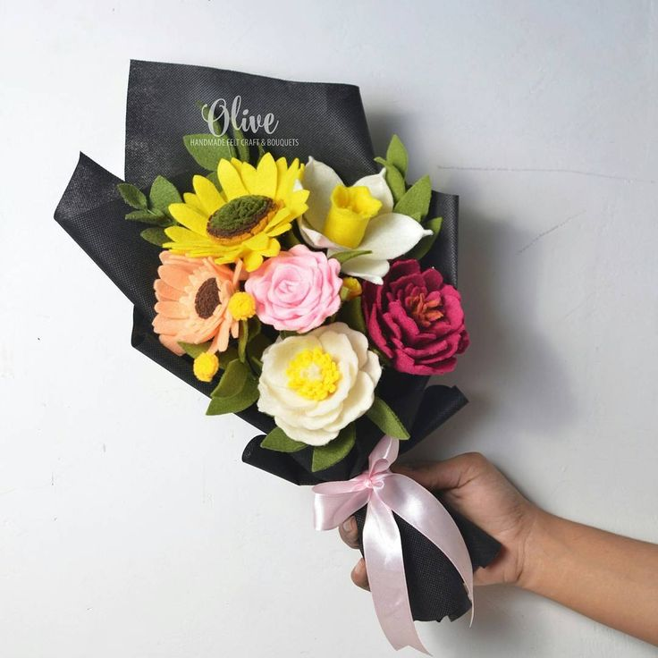 "125 Likes, 12 Comments - Buket Bunga Flanel Gresik (@olivefeltcraft) on Instagram: ""Mix flower edition  • Sunflower, delavayi peony, macrofilla peony, gerbera daisy,…"""