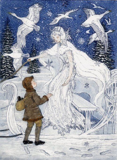 "Illustration by Arthur Rackman: ""The Snow Queen"" by Hans Christian Andersen - Rackham had a particular love for fairy tales, and he revered those of Hans Christian Andersen to the extent that he thought they had been ""so beautifully told that no one yet wished to improve or edit a single word."" I am in love with this type of illustration."