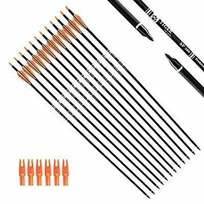 Tiger Archery 30Inch Carbon Arrow Practice Hunting Arrows With Removable Tips for Compound & Recurve Bow (Pack of 12)