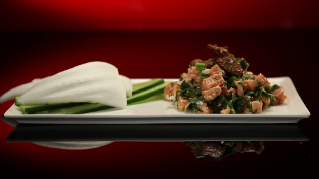 Thai cured salmon salad with raw vegetables