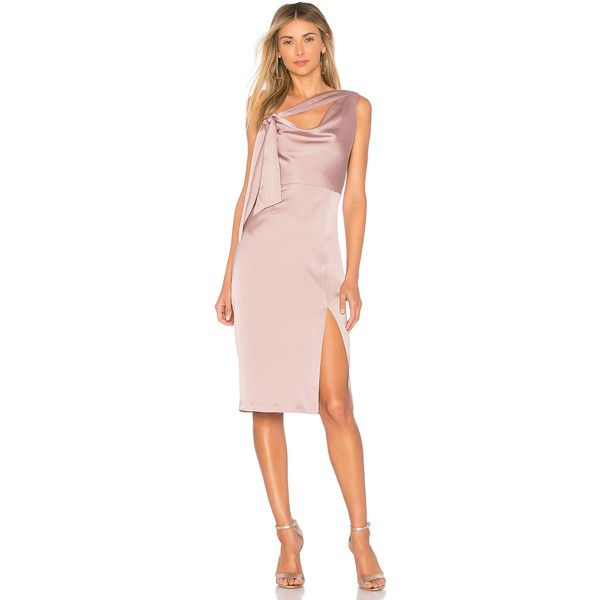 Finders Keepers Aspects Midi Dress (1,105 CNY) ❤ liked on Polyvore featuring dresses, finders keepers dress, pink one shoulder dress, pink slit dress, pink midi dress and tie dress