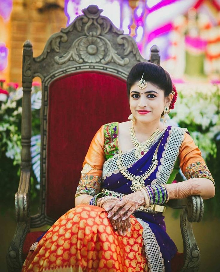 South Indian bride. Diamond Indian bridal jewelry.Temple jewelry. Jhumkis. Purple and orange silk kanchipuram sari.Braid with fresh jasmine flowers. Tamil bride. Telugu bride. Kannada bride. Hindu bride. Malayalee bride.Kerala bride.South Indian wedding.