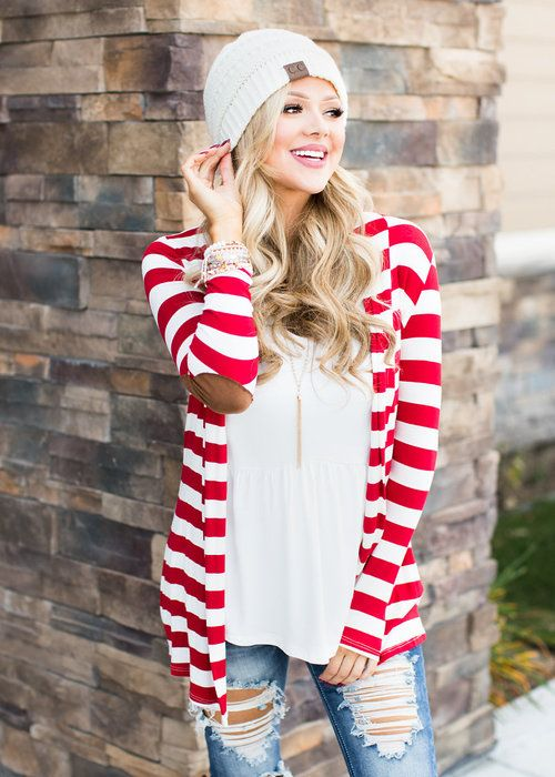 Boutique, Online Boutique, Women's Boutique, Modern Vintage Boutique, Cardigan, Red and White Cardigan, Striped Cardigan, Long Sleeve Cardigan, Cute, Fashion