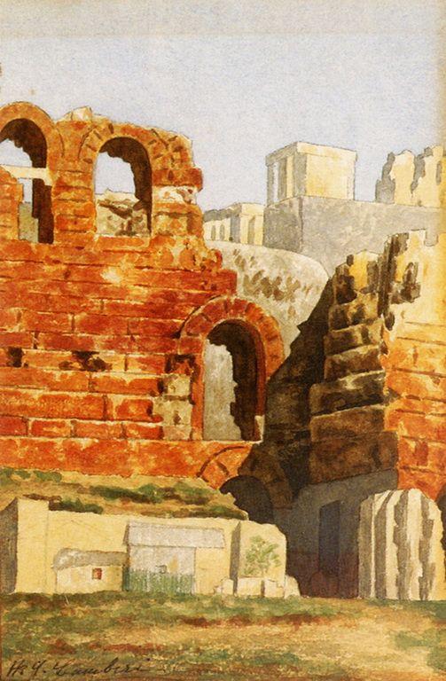 .:. Λαμπίρης Χρίστος – Christos Lambiris [1870-1950] -ΑΠΟΨΗ ΤΗΣ ΑΚΡΟΠΟΛΗΣ ΜΕ ΤΟ ΗΡΩΔΕΙΟ