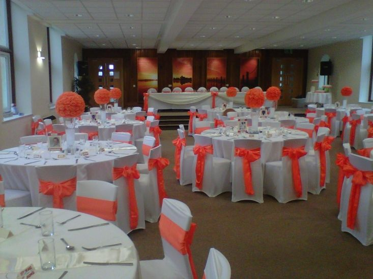 Orange Sashes with Chair covers